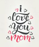 I love you mom greeting card textured Stock Images