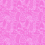 Hand drawn  ice cream with chocolate, berries and candys s Royalty Free Stock Images
