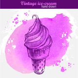 Hand drawn ice cream cone Royalty Free Stock Photos
