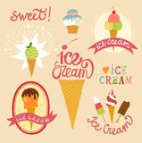 Hand drawn ice cream emblems set Royalty Free Stock Images