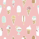 Hand drawn ice cream seamless pattern on  background. Royalty Free Stock Photos