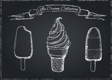 Hand Drawn Ice Cream Set on Chalkboard Royalty Free Stock Photos