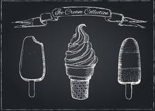 Hand Drawn Ice Cream Set on Chalkboard Royalty Free Stock Photos
