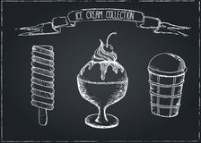 Hand Drawn Ice Cream Set on Chalkboard Royalty Free Stock Photography