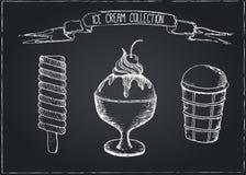 Hand Drawn Ice Cream Set on Chalkboard Royalty Free Stock Photography