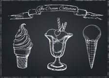 Hand Drawn Ice Cream Set on Chalkboard Stock Photo