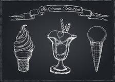 Hand Drawn Ice Cream Set on Chalkboard Stock Photo