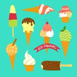 Hand drawn ice cream set Stock Photo