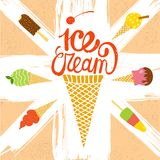 Hand drawn ice cream set. Cute cartoon ice cream poster on textured wall background Royalty Free Stock Images
