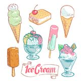 Hand drawn ice cream set isolated on white background. Vector illustration Stock Photography