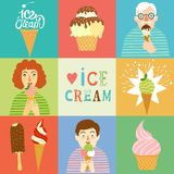 Hand drawn ice cream set wit people. Stock Photography