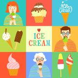 Hand drawn ice cream set wit people. Stock Photo
