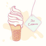Hand drawn ice cream sundae in waffle cone Royalty Free Stock Images