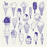 Hand- drawn Ice cream vector drawings set. Vector Illustration. Freehand drawing stock illustration