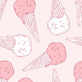 Hand drawn ice cream in a waffle cone. Outline. Seamless pattern. Vector illustration. Sweet dessert background with drops Stock Image