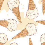 Hand drawn ice cream in a waffle cone seamless Royalty Free Stock Photo