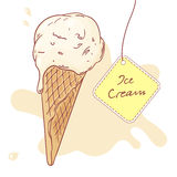 Hand drawn ice cream in a waffle cone. Vector Stock Images