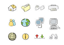 Hand-drawn Icon Set: Computer & Web. Vector hand drawn icon set : computer & web Royalty Free Stock Images