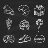 Hand drawn icon set - sweets and cakes Stock Image