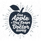 Hand drawn icon with textured apple vector illustration Stock Photography