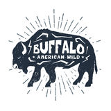 Hand drawn icon with textured buffalo vector illustration. Hand drawn label with textured buffalo vector illustration and `Buffalo. American wild` lettering Stock Images