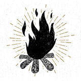 Hand drawn icon with a textured campfire vector illustration Royalty Free Stock Photography