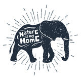 Hand drawn icon with textured elephant vector illustration. Stock Photo