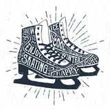 Hand drawn icon with textured ice skates vector illustration Stock Photography