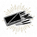Hand drawn icon with a textured matchbox vector illustration Stock Image