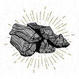 Hand drawn icon with a textured wood pile vector illustration Stock Photos