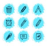 Hand drawn icons. A creative stationery hand drawn icons set Stock Image