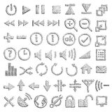 Hand-drawn icons Stock Images