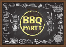 Hand drawn icons about Barbecue party on chalkboard. Hand drawn icons about Barbecue party on chalkboard Royalty Free Stock Photos