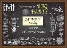 Hand drawn icons about Barbecue party on chalkboard. Royalty Free Stock Photography
