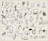 Hand drawn icons. Black and white hand drawn icons Stock Photography