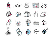 Hand drawn icons 001. Business package icons. There are simple hand drawn icons related to communication, business and media. n Stock Photos