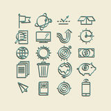 Hand drawn icons. concept business web media seo marketing engine optimization site. Stock Images