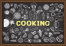 Hand drawn icons about cooking on chalkboard. Vector illustration vector illustration