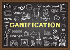 Hand drawn icons about gamification on chalkboard, marketing concept. Hand drawn icons about gamification  on chalkboard, marketing concept Stock Photos