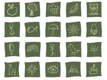 Hand drawn icons on green. Collection of nature themed hand drawn icons in green Royalty Free Stock Photography
