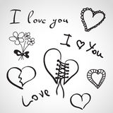 Hand drawn icons - i love you Stock Images