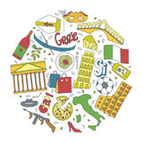 Hand drawn icons with Italy symbols - Pisa tower Coliseum mafia carnival theater football wine olive oil pizza flag Royalty Free Stock Image