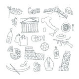 Hand drawn icons with Italy symbols - Pisa tower Coliseum mafia carnival theater football wine olive oil pizza flag Royalty Free Stock Photos