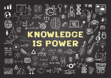 Hand drawn icons. About KNOWLEDGE  is power on chalkboard Royalty Free Stock Image