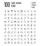 100 hand drawn icons. Large set of 100 multi-purpose icons for web or apps: travel, sport, health, food and more. Clean and minimalistic, but with a personal Royalty Free Stock Image