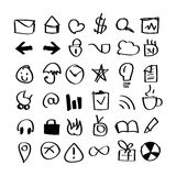 Hand drawn icons pack Stock Photos