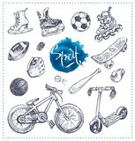 Hand drawn icons of sport equipment. Vector sketch royalty free illustration
