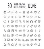 80 hand drawn icons Royalty Free Stock Images