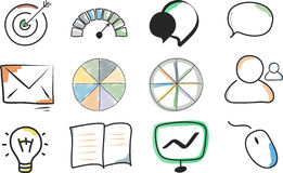 Hand drawn icons. Set useful for professional presentations Stock Photo