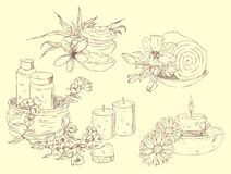 Hand drawn icons of Spa Stock Image